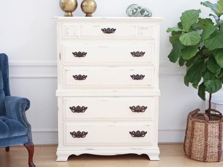 Vintage Shabby Chic Dresser / HighBoy / Tall Dresser in White Distress No119