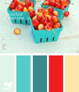 Red cherries & aqua baskets as color palette inspiration