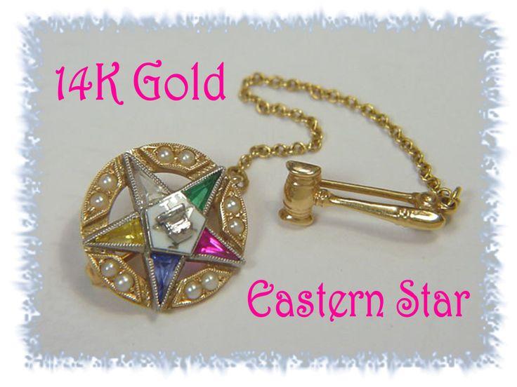 14K Gold - Masonic Eastern Star - Enamel Topaz & Pearl - Star Hammer Pin Brooch - Pennsylvania Vintage Mason Estate Antique - FREE SHIPPING by FindMeTreasures on Etsy