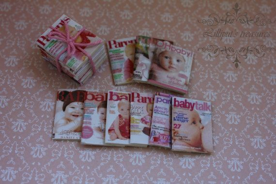 Dollhouse miniature set of 9 different baby by Lilliputstreasures
