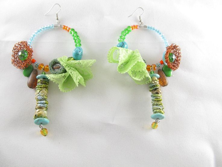 Handmade lace earrings (1 pair)  Made with handmade silk fiber beads, handmade wire motif, lace, semiprecious stones, glass beads and antiallergic hangings.