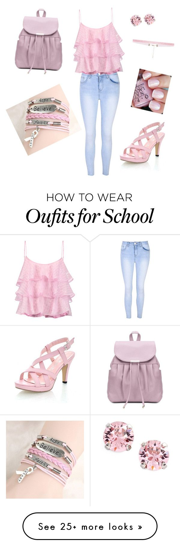 """""""Pink School"""" by krazy-kitten on Polyvore featuring Glamorous, Pierre Balmain, L. Erickson, OPI and 8 Other Reasons"""