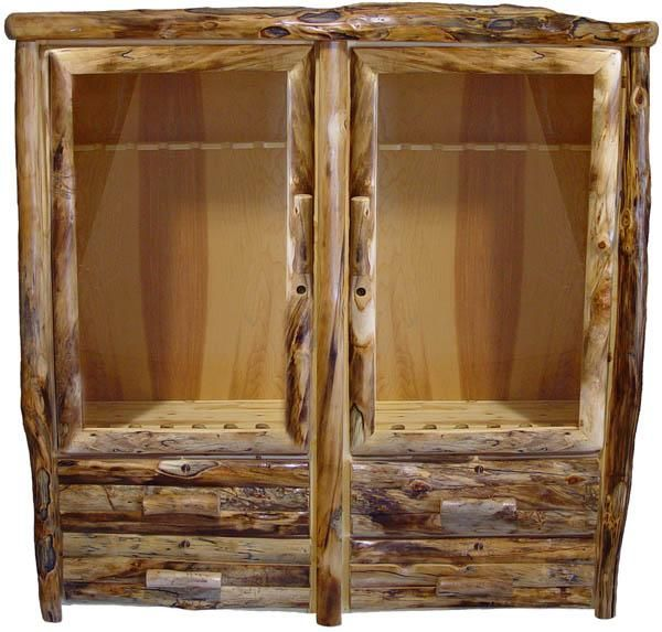 This rustic log gun cabinet is handcrafted from natural solid wood logs in custom sizes for cabin, lodge, mountain and camp decors. Made in America - USA.