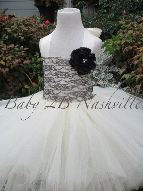 Ivory with Black Lace Flower Girl Dress Wedding by Baby2BNashville, $110.00