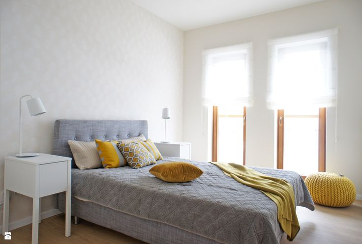 Gray and yellow bedroom combination