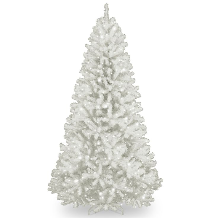 north valley spruce 7u0027 white artificial christmas tree with 550 clear lights and stand - Christmas Trees Clearance