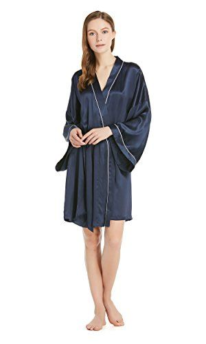1b1be7e6e6 LILYSILK Women s Silk Dressing Gown Short Long Sleeve Robe Kimono Ladies 22  Momme Pure Silk Benefits  Hypoallergenic