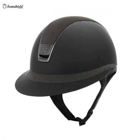 Samshield Miss Shield Black Shadowmatt Riding Hat with Taupe Lizard - £398.33. Meet the stunning new Miss Shield riding hat from Samshield! Specifically designed for a classic women's style, the hat features a longer polo-style visor for an elegant feminine finish.