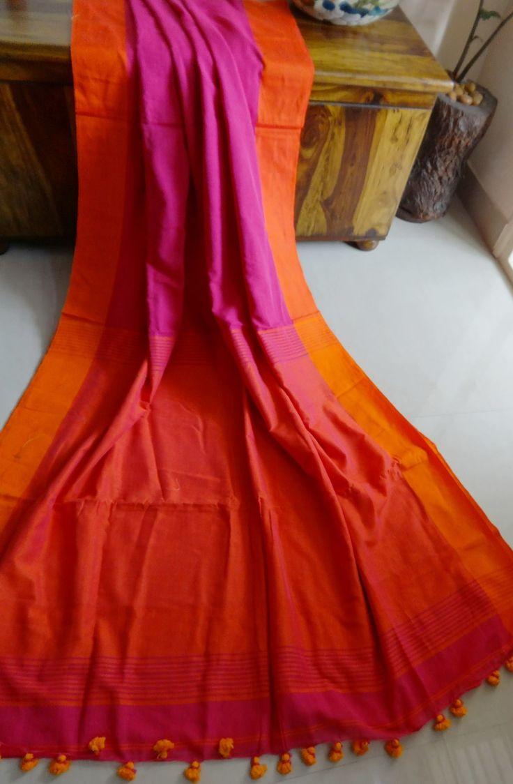 Pink and orange silk