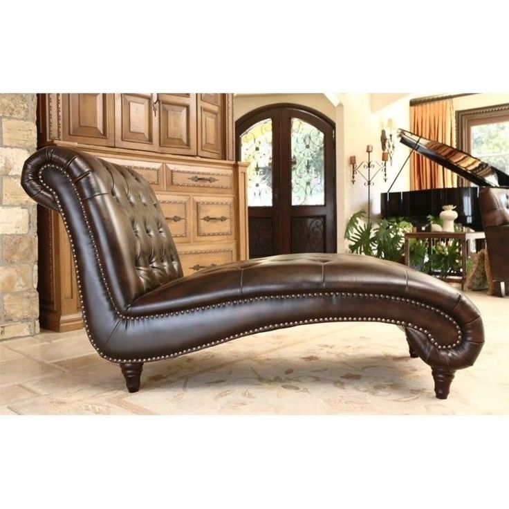 Abbyson Living Mirabello Tuft Bonded Leather Chaise Lounge in Brown | Home & Garden, Furniture, Sofas, Loveseats & Chaises | eBay!