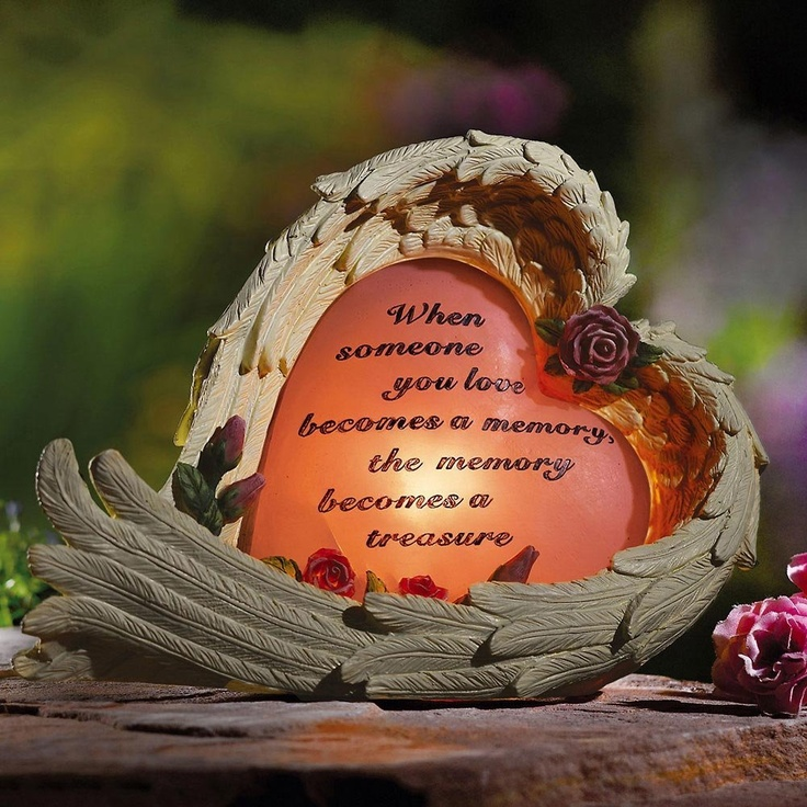 amazoncom angel wing and heart solar memorial garden stone by collections etc