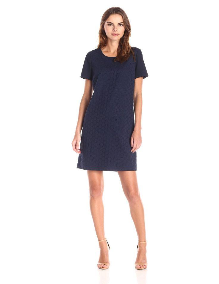 Lark & Ro Women's Eyelet Short Sleeve Shift Dress, Navy, | Fashion ...