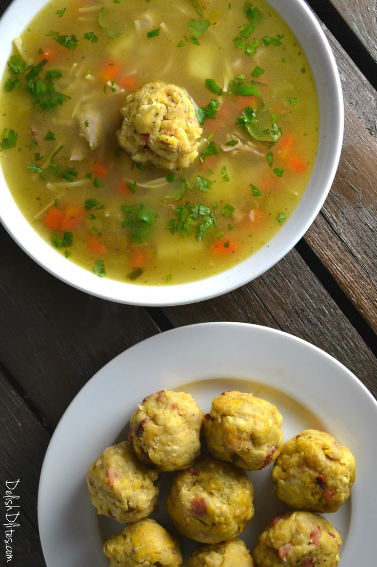 Caldo De Pollo con Mofongo (Puerto Rican Chicken Soup with Plaintain Dumplings)