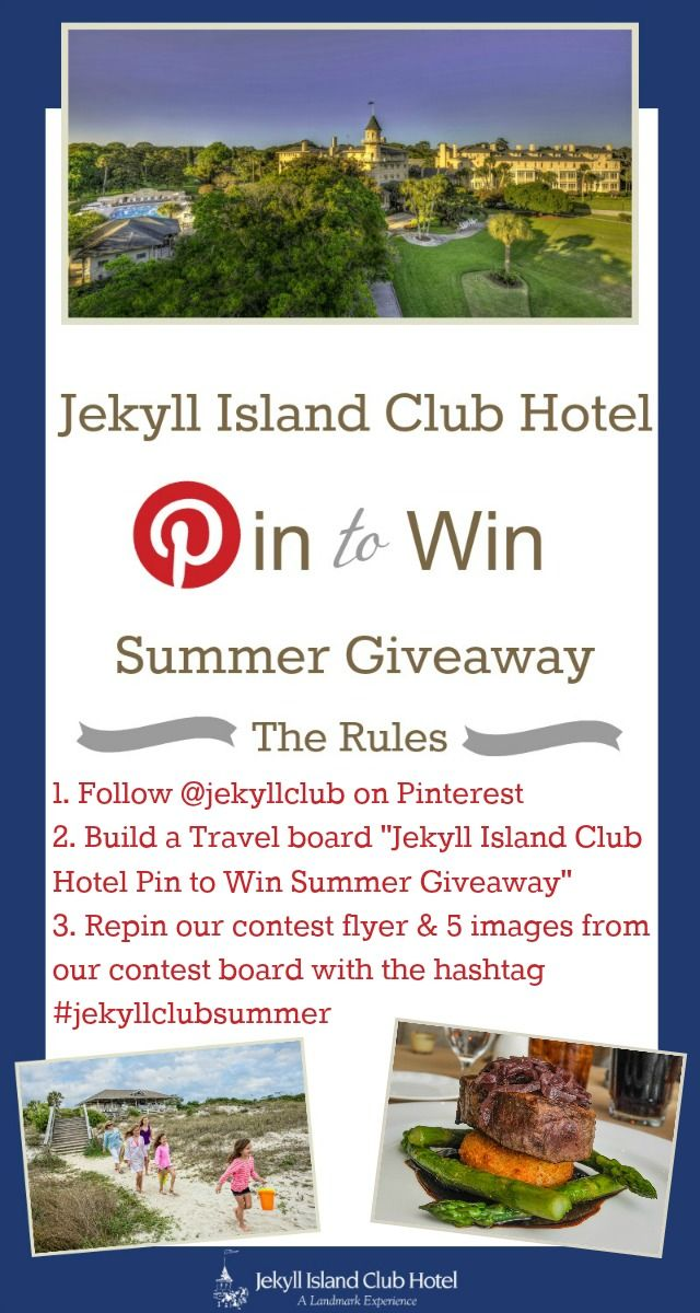 "#pinittowinit Contest Flyer. #jekyllisland #jekyllclubsummer #giveaway Enter for your chance to win by Building a Travel board ""Jekyll Island Club Hotel Pin to Win Summer Giveaway"" Repinning this flyer along with 5 images from this board and marking with hashtag #jekyllclubsummer. Entries can be made through our Facebook tab. Read Blog post to learn more."