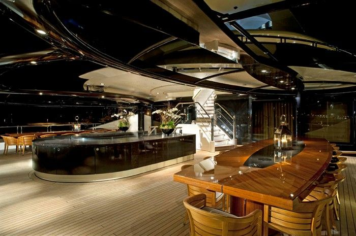 Luxury Yacht Interior – Palladium Aft Deck Dining Area Night View