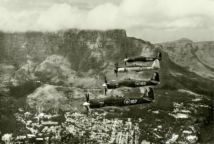 Sea Fury FB II's from 802 Sqn. in formation during HMS Vengeance visit to C.T. in Nov. 1948.