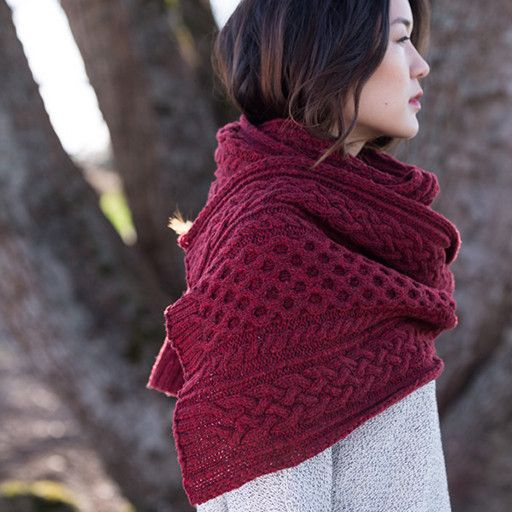 WP 10, Aquinnah Scarf/Wrap Pattern – Aquinnah is a lush, cabled wrap that comes in three different sizes to choose from: a sleek stole in either Shelter or Quarry, and a dramatic wrap in Shelter. Crisp cables and textured twisted rib make this an engaging knit that's a pleasure to wear.