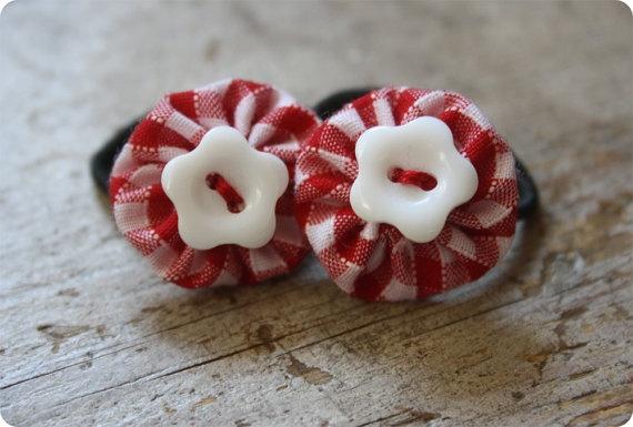 Small Red Gingham Flower Yo Yo Hair Elastics by LoopyBirdsBoutique