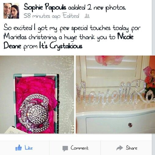 Love making my beautiful customers happy and I'm so glad my Crystalicious® Branded items are apart of Sophie's daughter's special day    Stay tuned as there is more items to come in the next couple of weeks   #amazing #bling #baby #baptism #Crystals #crystalicious #christening #designer #diamonds #fashionblogger #glam #handmade #instababy #keepsake #lovemyjob #entrepreneur #swarovski #swarovskielements @official_swarovski #nameplaque #pacifier #babybling #dummy #sparkly #strassed #trend…
