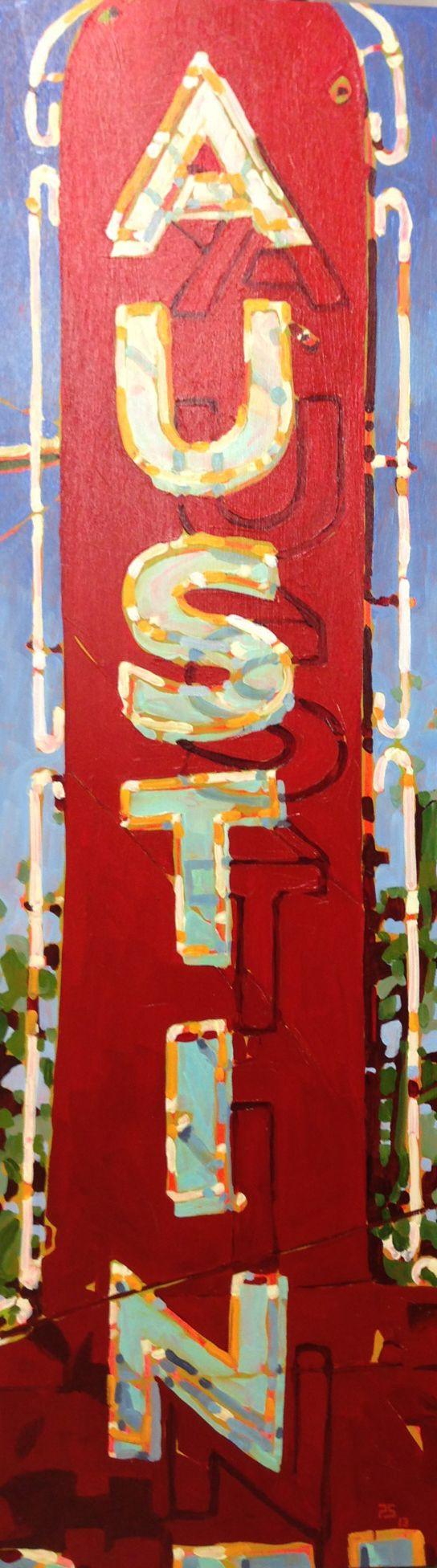 Paul Stankiewicz - Austin Motel Medium - MEDIUM: Original Oil on Board SIZE: 41 x 12