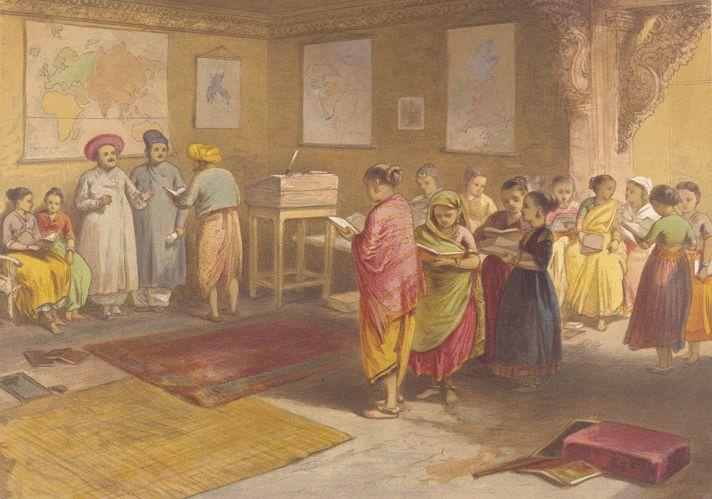 Bombay Girls School, Wm Simpson, chromolithograph, 1867