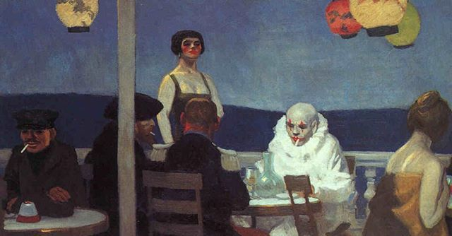 "WEBSTA @ art_psycho - By #edwardhopper 1914 ""To see his (Hoppers) paintings is to hear silence."" ""In Soir Blue, seven people are grouped together, among them a clown who might ordinarly attract attention. Yet each of the seven finds a way to avoid the others. Their lack of connection is not pushed in the viewer's face. It just is."" In NYmag.com ""the great american pessimist"""