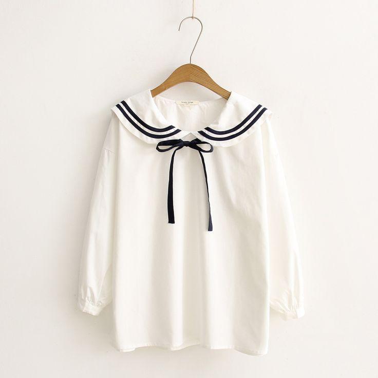 2016 Spring Student Cute Lolita Blouse Long Sleeve Peter Pan Collar Bow Tie Japanese Kawaii Shirts Women Mori Girl White Blouse
