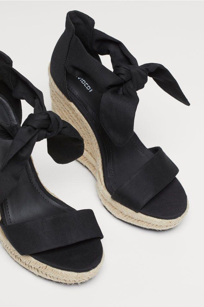 b8f4df64c07 H&M Wedge-heeled Sandals - Black in 2019 | head over heels | Black ...