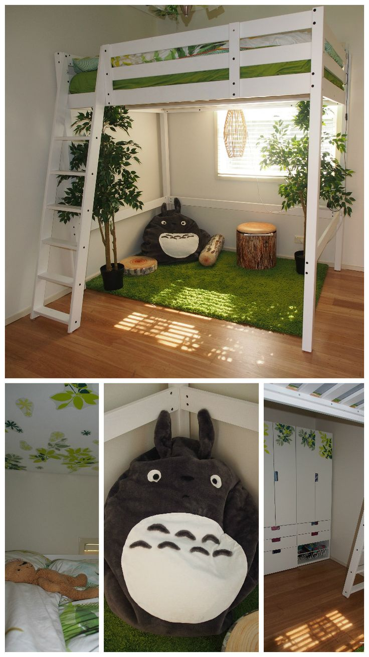 Woodland forest treehouse theme for small bedroom. Ikea Stora loft bed (15cm off the legs for headroom). Stuva wardrobe. Elsabo stickers on ceiling and robe. Fejka plants. Plush logs from eBay. Tree stump storage stool from Innovations. Freedom table lamp converted into pendant. Homemade Totoro bean bag.