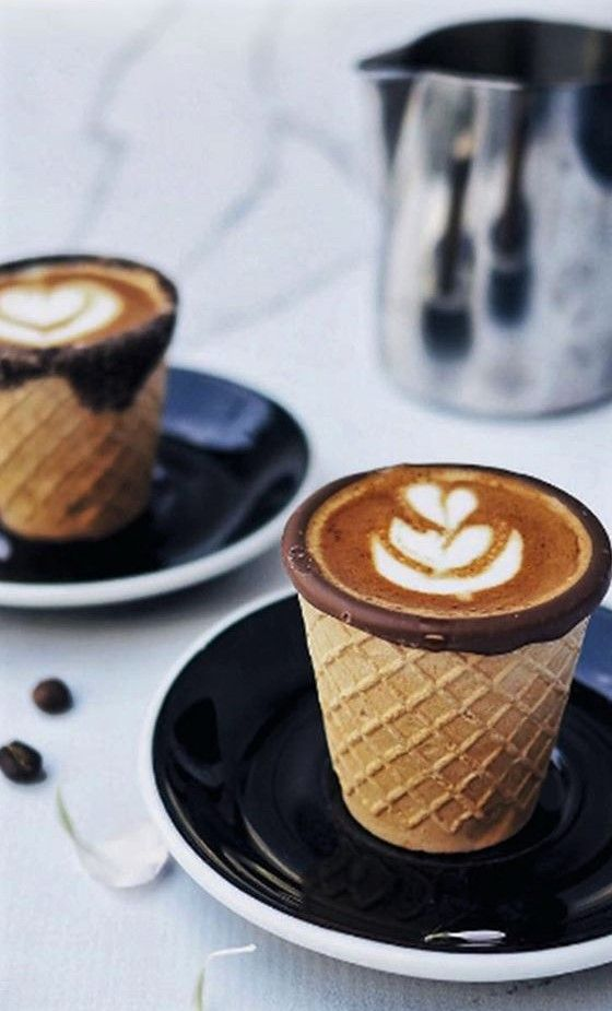 Coffee Served in Edible Chocolate Waffle Cone (picture only)
