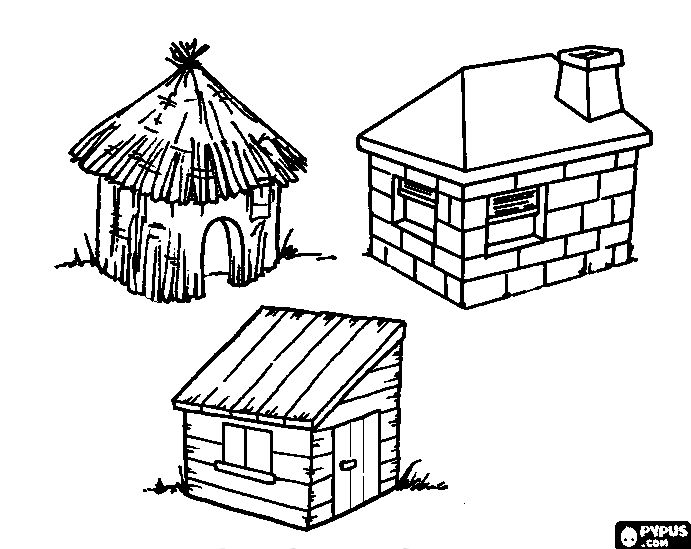 Free coloring pages of 3 little pigs straw house