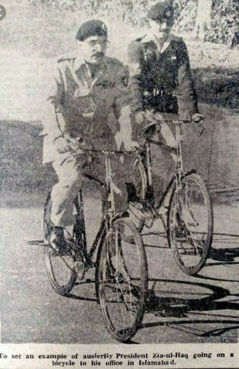 President of Pakistan Zia-ul-Haq going to his office in Islamabad on a bicycle in 1980