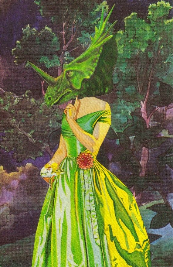Original Mixed Media Collage Art Anthropomorphic Dinosaur Art Prehistoric Prom Night