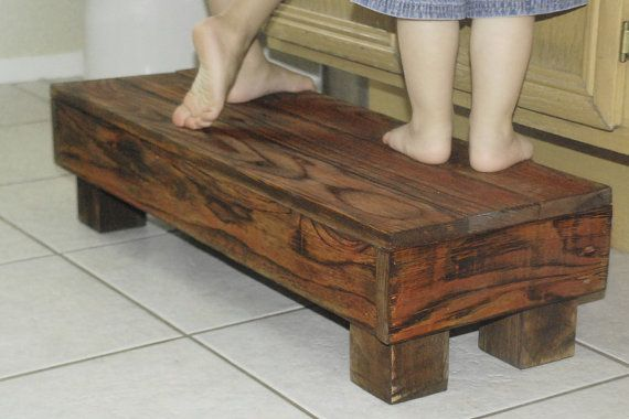 Double wide step stool 30 reclaimed wood made for 2 children rustic kids bench seat great Bathroom step stool for kids