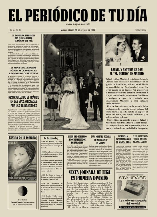 """Rafael y Antonia se dan el """"Sí, quiero"""" en Madrid. Los protagonistas se emocionaron al recibir El Periódico de Tu Día en su aniversario. Un regalo original que emocionó a todos en la ceremonia. Recuerda que para sorprender a tus seres queridos podéis buscar regalos de cumpleaños, regalos de aniversarios, regalos de bodas, regalos de bodas de oro, regalos de bodas de plata, regalos de bautizos, regalos de comuniones y mucho más en El Periódico de Tu Día. Entra y descúbrelo. ;)"""