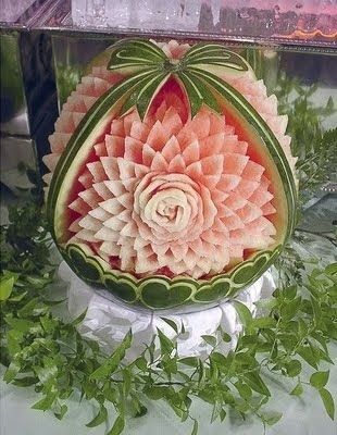 Watermelon made into an exquisite floral basket