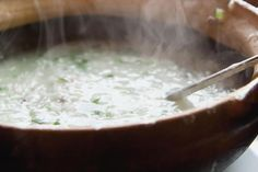 Basic Congee Recipe with Rice - Delicious, but still need to find a recipe for corn and/or pumpkin congee!