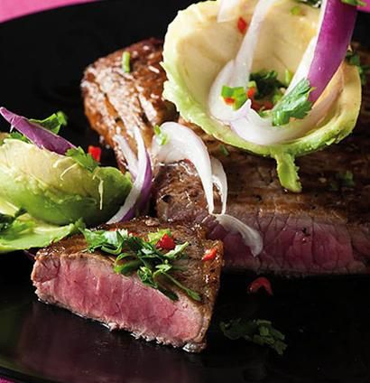Seared rump steak with chilli avocado salad. Goes well with the lingering taste of brie and beetroot