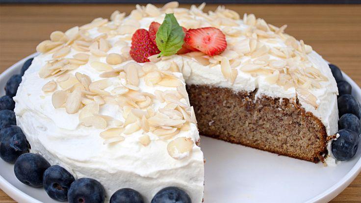 Almond Flour Cake with Almond Whipped Cream #theurbanvegetarian #glutenfree #vegetarian #dessert