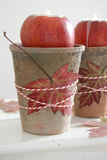 Inspiration: apple candles with nice details. From Apples again by herz-allerliebst 10/20/2011.