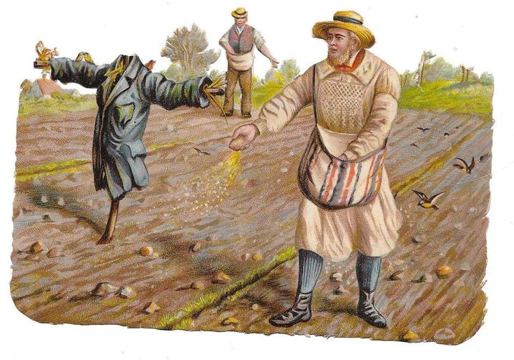 Victorian Die Cut Scrap R. Tuck Farm Scene with Scarecrow: