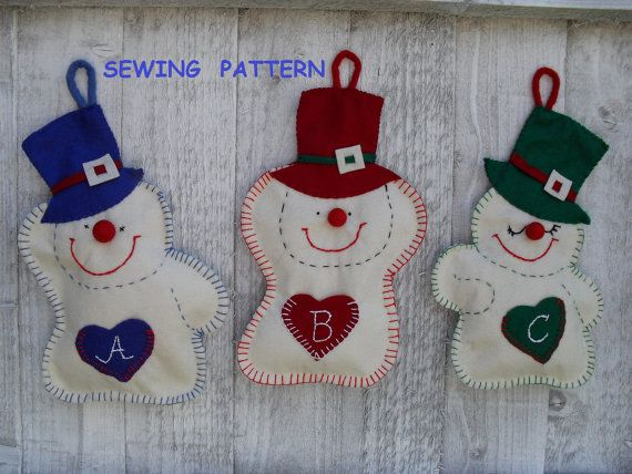 snowmen felt christmas ornaments sewing pattern pdf how to make wall hanging christmas christmas crafts