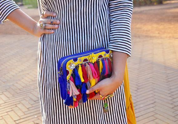 Colorful Pom Pom Clutch Bohemian Crossbody Tassel Clutch Blue by BoMono