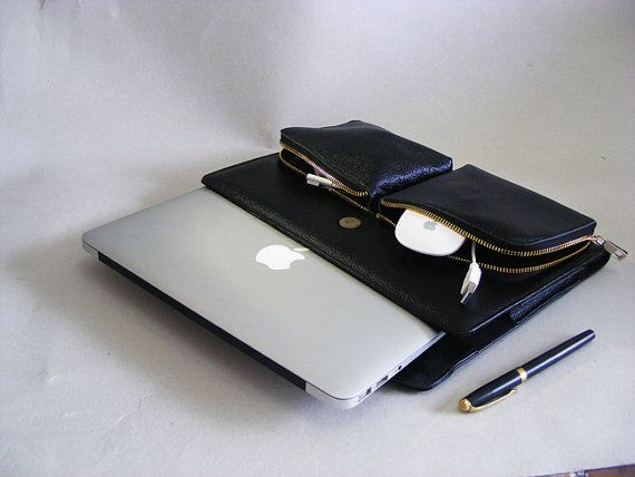 The apple macbook air leather briefcase for mac air 13 and with two zippered pockets for carrying charger and mouse with apple laptop.  This