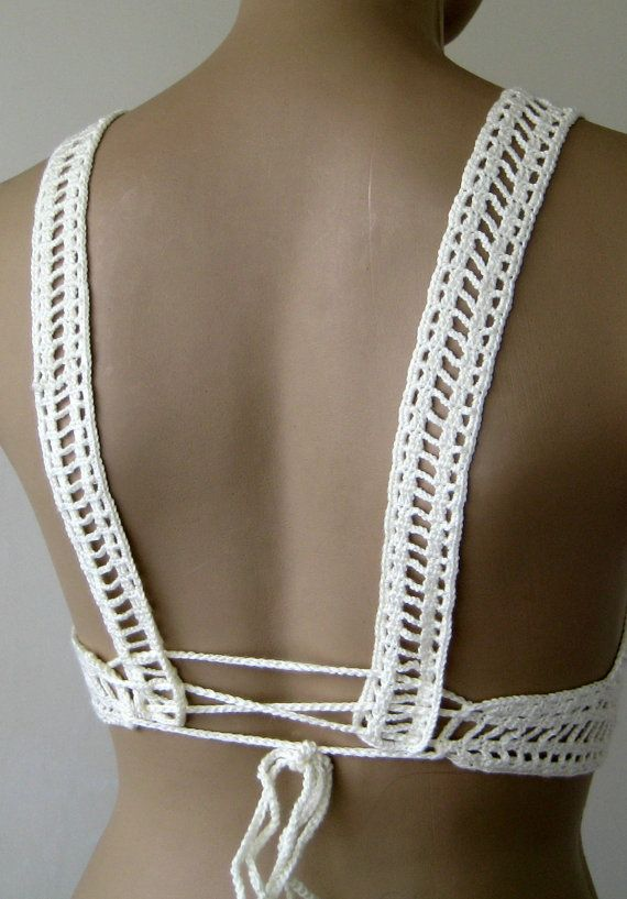 EXPRESS CARGO Crochet Cream Top Cream Bikini Top by formalhouse
