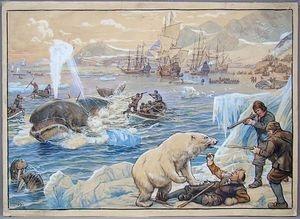 Ter walvisvaart uit de serie schoolplaten van Cornelis Jetses