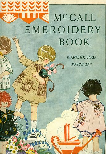 A beautiful illustration graces the cover of this charming vintage embroidery book from the 1920's
