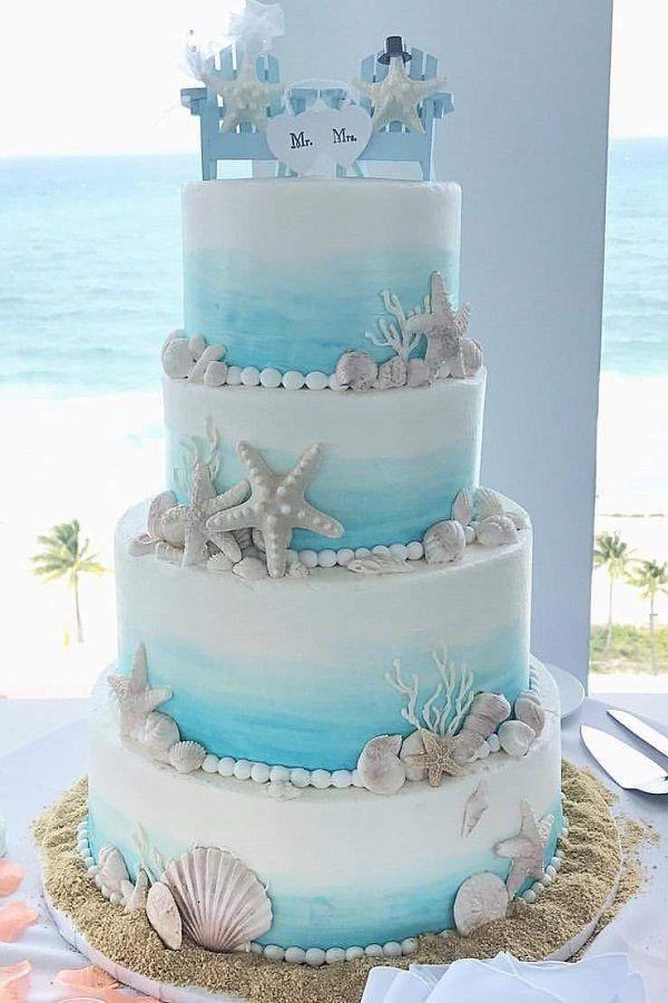 Beach Wedding Cake Beachthemedwedding Bluecake
