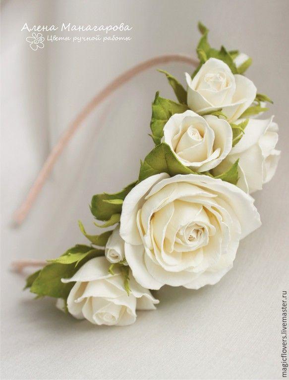 Купить Свадебный ободок из фоамирана - белый, айвори, ободок с цветами, невеста, розы, свадьба