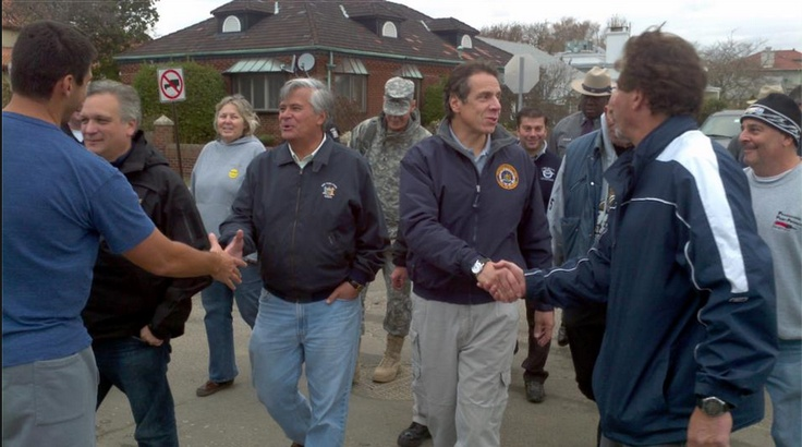 Local and state politicians visit Long Beach to make a survey of the destruction. They take time out to shake a few hands. Pictured are NC Legislator Denise Ford, NYS Senator Dean Skelos and NYS Governor Andrew Cuomo.